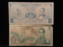 1963 5 Pesos Oro & 1964 1 Peso Oro Banknotes from Colombia