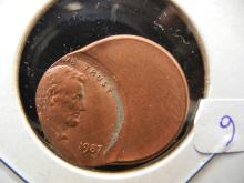 1987 50% Off-Center cent.  Very scarce with full date!