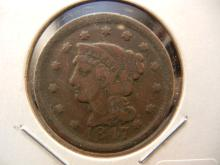 1847 Large cent.  Fine.