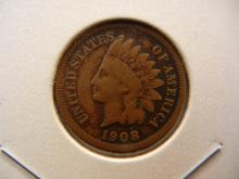 1908-S Indian Head Cent.  Fine and a key date.