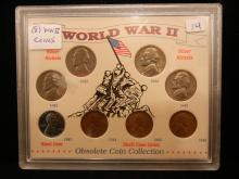 WWII 8 Coin Set.  With a steel cent and silver nickels.