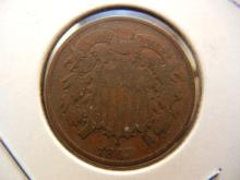 1867 Two cent Piece.  Very good
