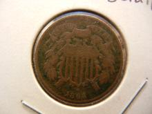 1864 Two cent piece.  Very Good detail.  Civil War issue.