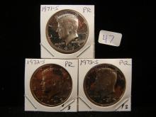 1971-S, 1972-S, 1973-S Kennedy Halves.  GEM Proof.  A bundle.
