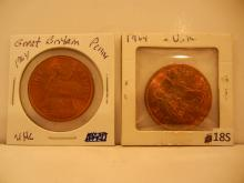 1964 Great Britain Penny & 1964 UK Penny