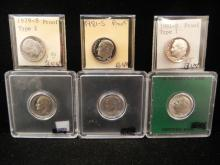 Six Proof Roosevelt Dimes, 1955 Silver Roosevelt,  1979-S Type 2, 1981-S, 1981-S Type 1, 1988-S, 1987-S,