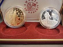 1998 Two-piece Space Proof Commemorative Set.  Astronaut is 90% Silver (26.7 grams) and space shuttle is bronze.