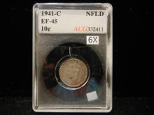 1941-C Newfoundland 10 cent Piece  EF-45  graded by Accugrade