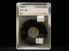 1913 Canadian Silver 5 Cents   AU-55 Graded by Accugrade