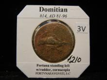 Domitian #14 AD 81-96 Fortuna Standing Left with rudder