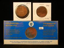 1790? Half Penny , 1916 Great Britain Penny, 1984 Celebrate our faith comm. coin