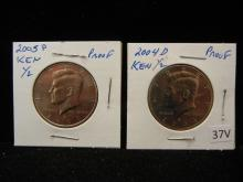 2004 D & 2005 P Proof Kennedy Half Dollars