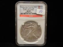 2012 (S) American Silver Eagle.  Slabbed by NGC as MS 69, Early Release.