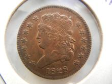 1828 US Half Cent.  13 stars.  Almost Uncirculated detail.