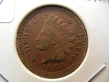1905 Indian cent.  Extremely Fine detail with sharp Liberty.