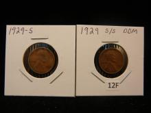 1929-S & 1929-S/S Lincoln Wheat Cents