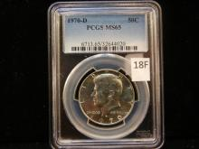 1970-D Kennedy Half Dollar, Graded By PCGS MS 65 , 40% Silver,