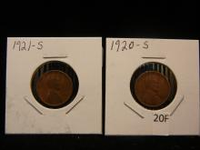 2-Lincoln Wheat Cents, 1920-S & 1921-S
