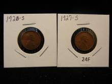 2-Lincoln Wheat Cents,1927-S , 1928-S