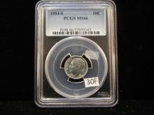 1954-S Silver Roosevelt Dime Graded By PCGS ,MS 66