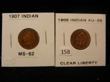 2 Indian Head Cents, 1906,07