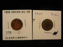 2 Indian Head Cents,1908,09