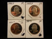 1993-S, 1994-S, 1995-S, 1997-S Clad Washington Quarters GEM Proof.
