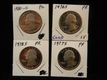 1976-S, 1977-S, 1978-S, 1980-S Washington Quarters.  GEM Proof.