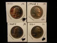 1968-S, 1969-S, 1972-S. and 1973-S Washington Quarters.  GEM Proof.