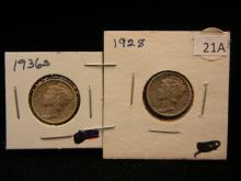1928 & 1936-S Mercury Dimes