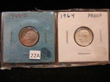 1949-S & 1964 Sliver Roosevelt Dimes