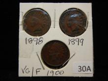3 Indian Head Cents 1898, 1899, 1900