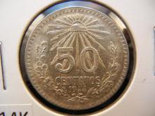 1944 50 Centavos Mexican Coin