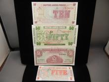 4-British Armed Forces Currency, 4 different .