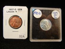 1937 -D  & 1943 -D Lincoln Wheat Cent
