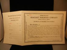 1889 Seacoast Railroad Co. Preferred Stock Certificate- Un-issued