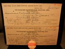 Two 1940 Rockford Ohio, Black Creek Township, Mercer County Checks  1912 Madison County Pin Back Edwardsville, ILL