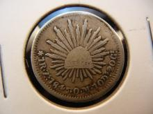 1845 Zs O.M. 1 Real Mexican Coin