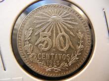 1943 50 Centavos Mexican Coin