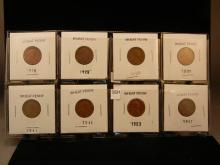 8-Lincoln Wheat Cents , 1918,28,29,37,41,46,53,57