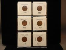 6-Lincoln Wheat Cents, 1920,30,34,45,52,51