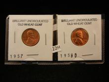 2-BU , Lincoln Wheat Cents , 1957,58-D