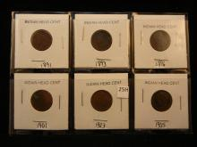 6-Indian Head Cents , 1891,1893,1896,1901,03,05