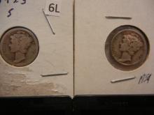 1923-S & 1939 Mercury Dimes