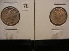 1943 & 1945-S Mercury Dimes
