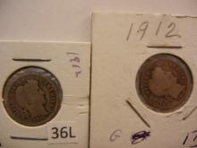 Two 1912 Barber Dimes