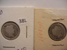 Two 1908-D Barber Dimes
