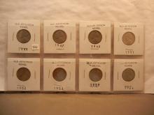 8 Jefferson Nickels 1940 to 1964