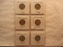 6 Buffalo Nickels 1920s 7 1936