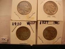 4 Buffalo Nickels: 1920, 1926, 1927, 1928